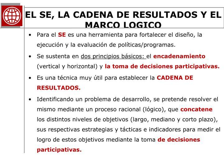EL SE, LA CADENA DE RESULTADOS Y EL MARCO LOGICO