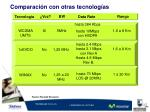 comparaci n con otras tecnolog as