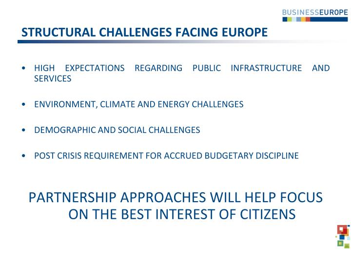 Structural challenges facing europe