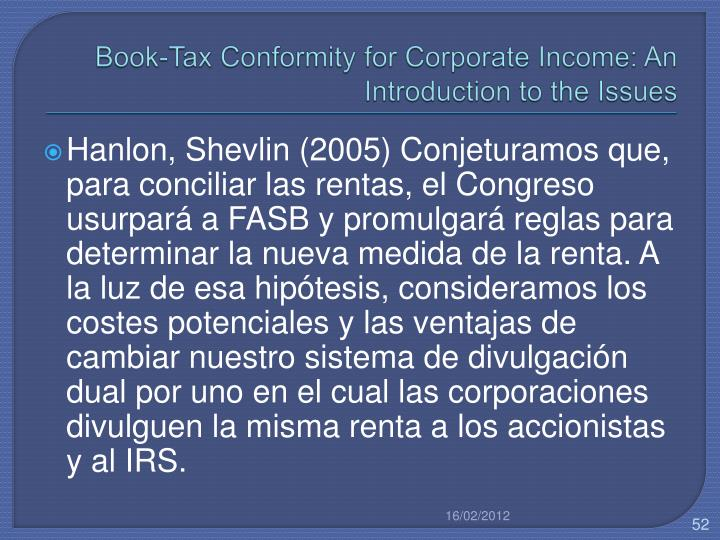 Book-Tax Conformity for Corporate Income: An