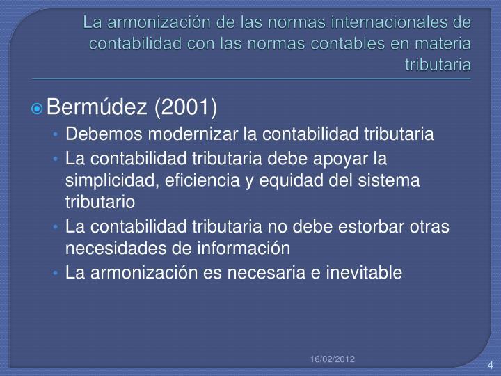 La armonización de las normas internacionales de contabilidad con las normas contables en materia tributaria