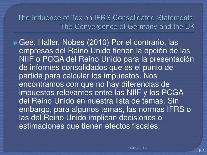 The Influence of Tax on IFRS Consolidated Statements: The Convergence of Germany and the UK