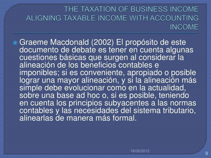 THE TAXATION OF BUSINESS INCOME