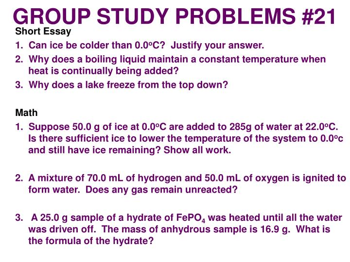 GROUP STUDY PROBLEMS #21