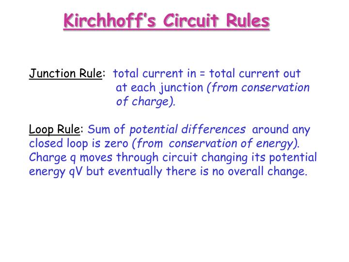 Kirchhoff's Circuit Rules