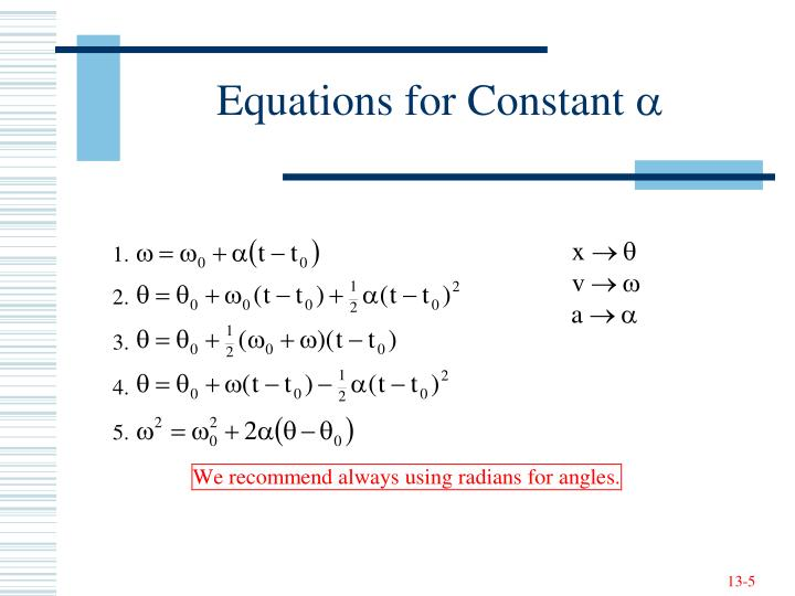 Equations for Constant