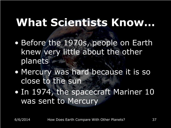 What Scientists Know…
