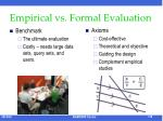 empirical vs formal evaluation