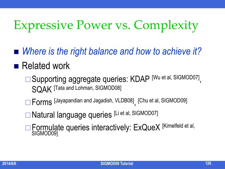 Expressive Power vs. Complexity