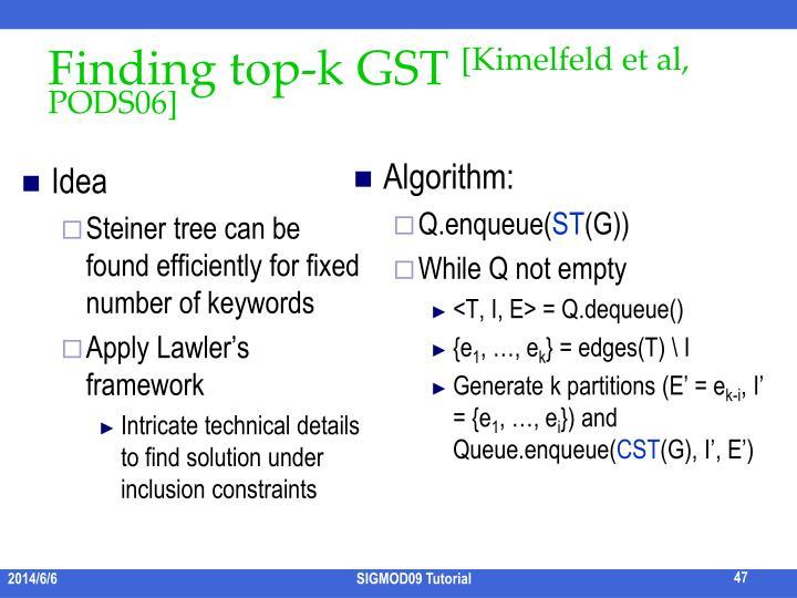 Finding top-k GST
