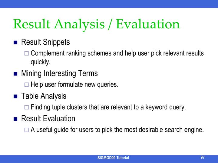 Result Analysis / Evaluation