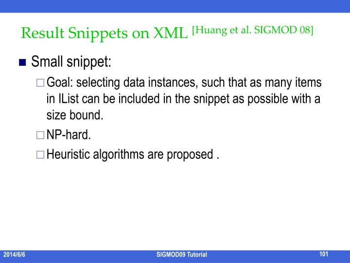 Result Snippets on XML