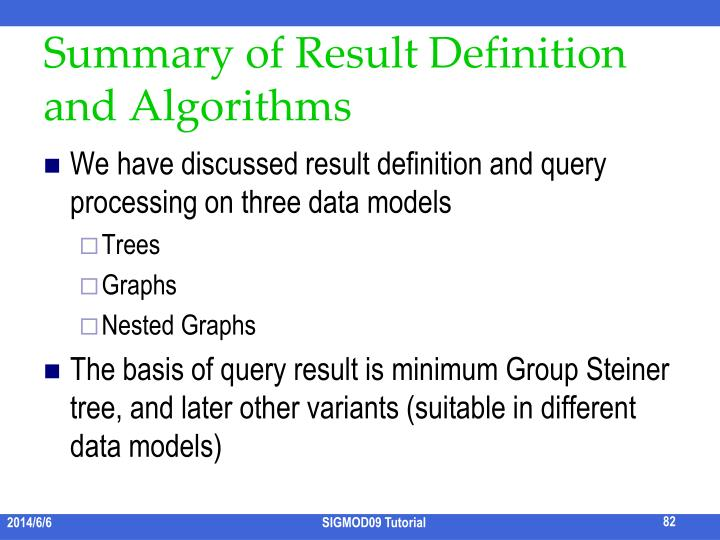 Summary of Result Definition and Algorithms
