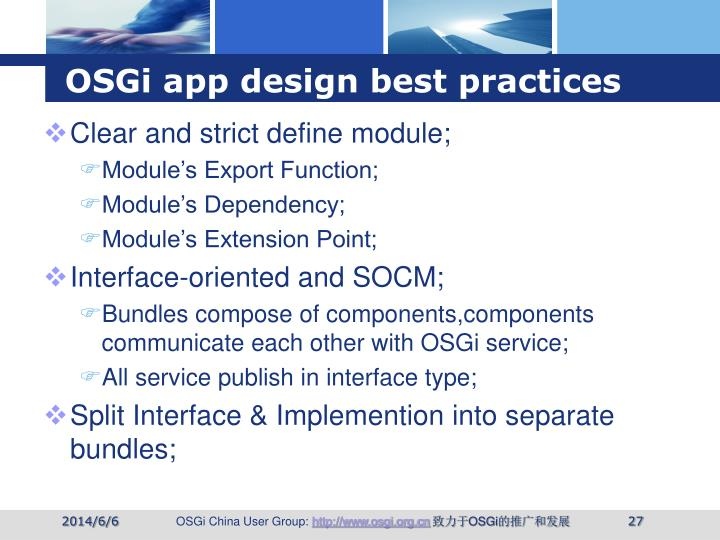 OSGi app design best practices