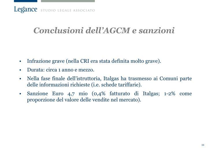 Conclusioni dell'AGCM e sanzioni