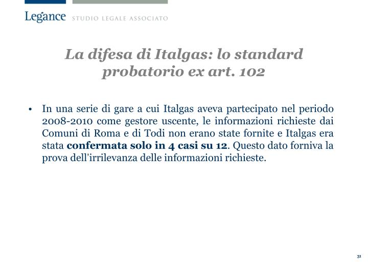 La difesa di Italgas: lo standard probatorio ex art. 102