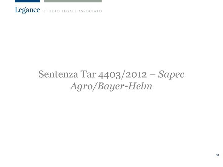 Sentenza Tar 4403/2012