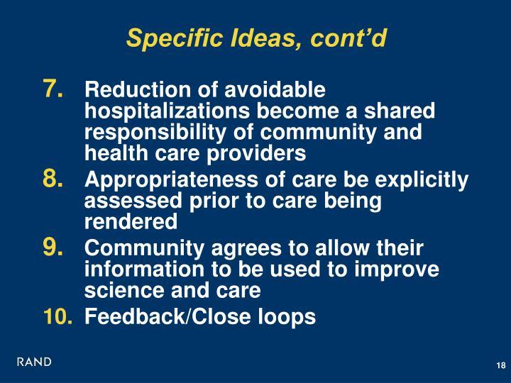 Specific Ideas, cont'd