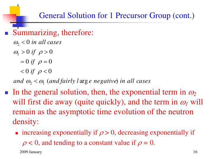 General Solution for 1 Precursor Group (cont.)