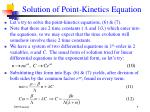 solution of point kinetics equation