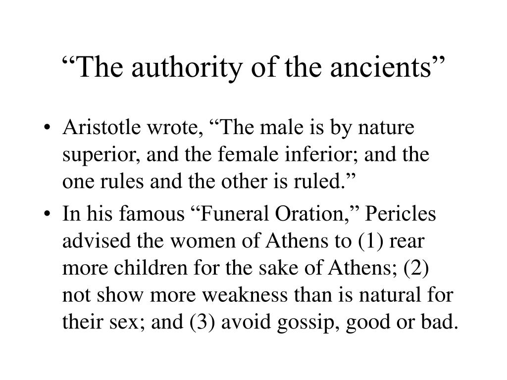 """The authority of the ancients"""