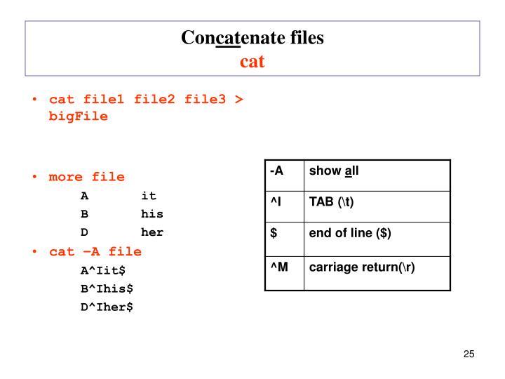 cat file1 file2 file3 > bigFile