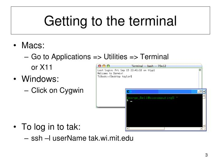 Getting to the terminal