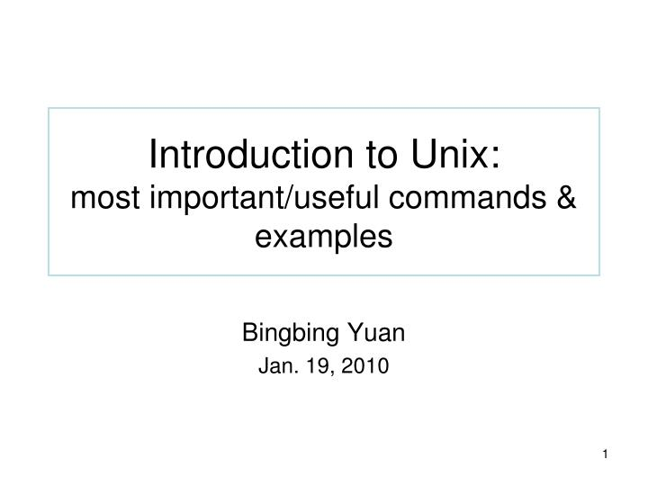 Introduction to Unix:
