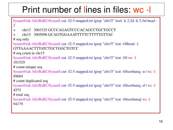 Print number of