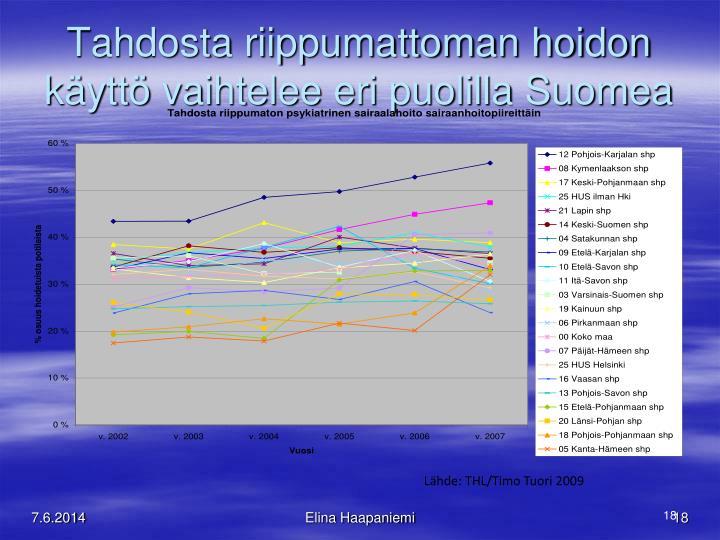 Tahdosta riippumattoman hoidon käyttö vaihtelee eri puolilla Suomea