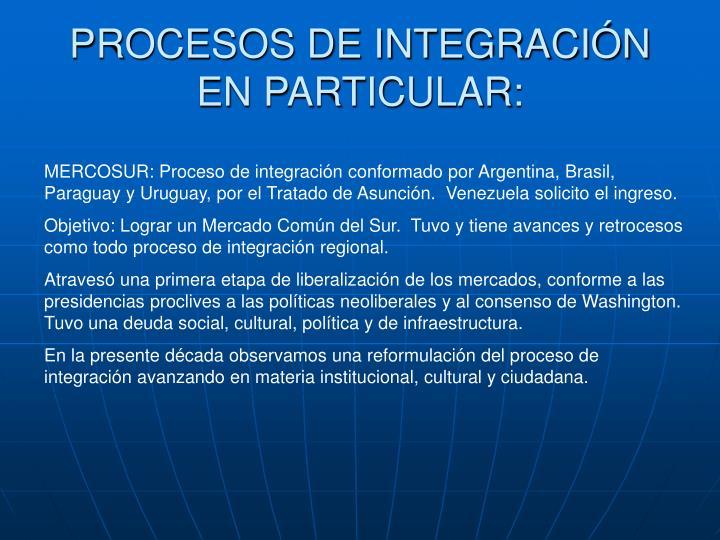 PROCESOS DE INTEGRACIÓN EN PARTICULAR: