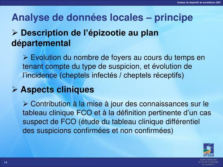 Analyse de données locales – principe