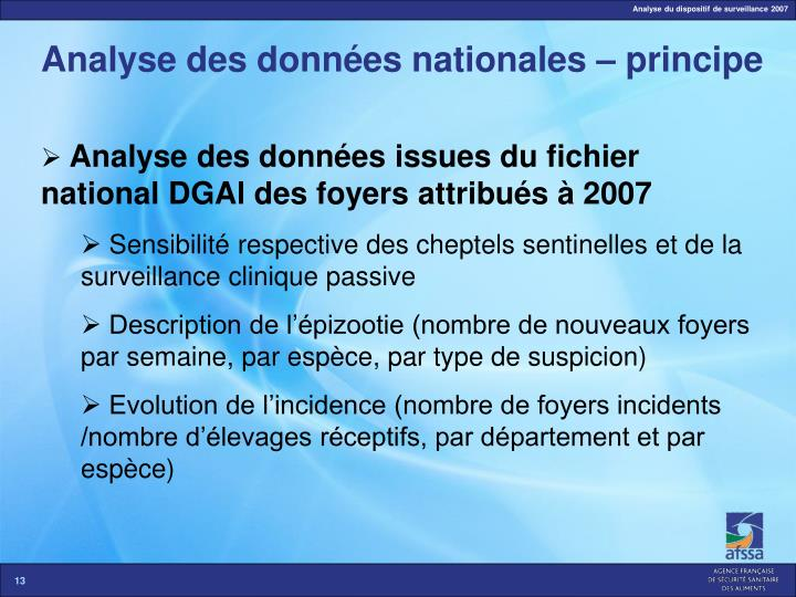 Analyse des données nationales – principe
