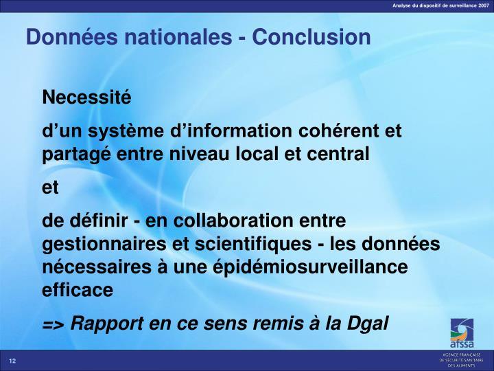 Données nationales - Conclusion