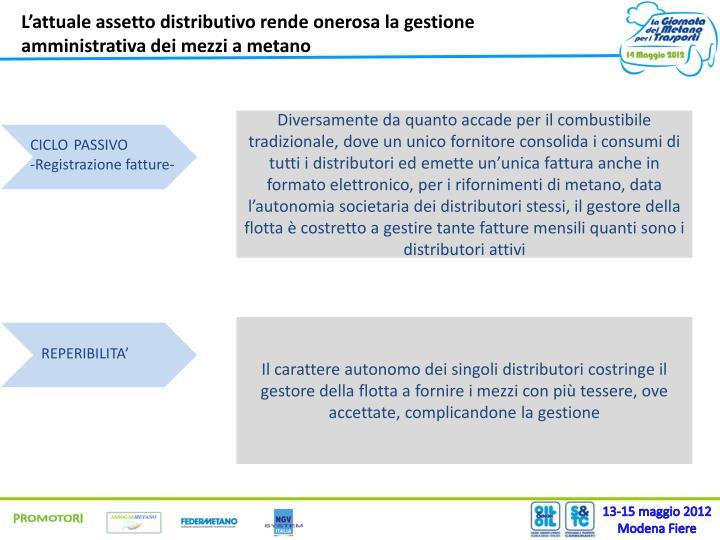 L'attuale assetto distributivo rende onerosa la gestione amministrativa dei mezzi a metano
