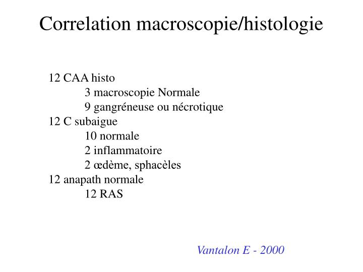 Correlation macroscopie/histologie