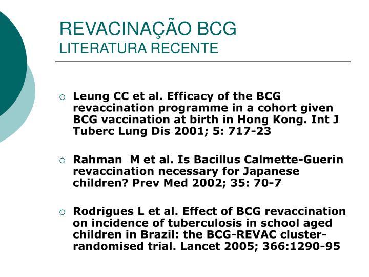 REVACINAÇÃO BCG