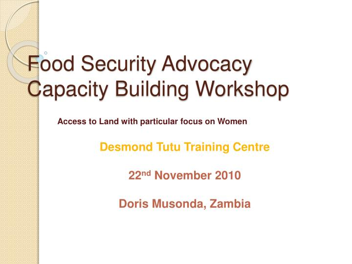 Food security advocacy capacity building workshop