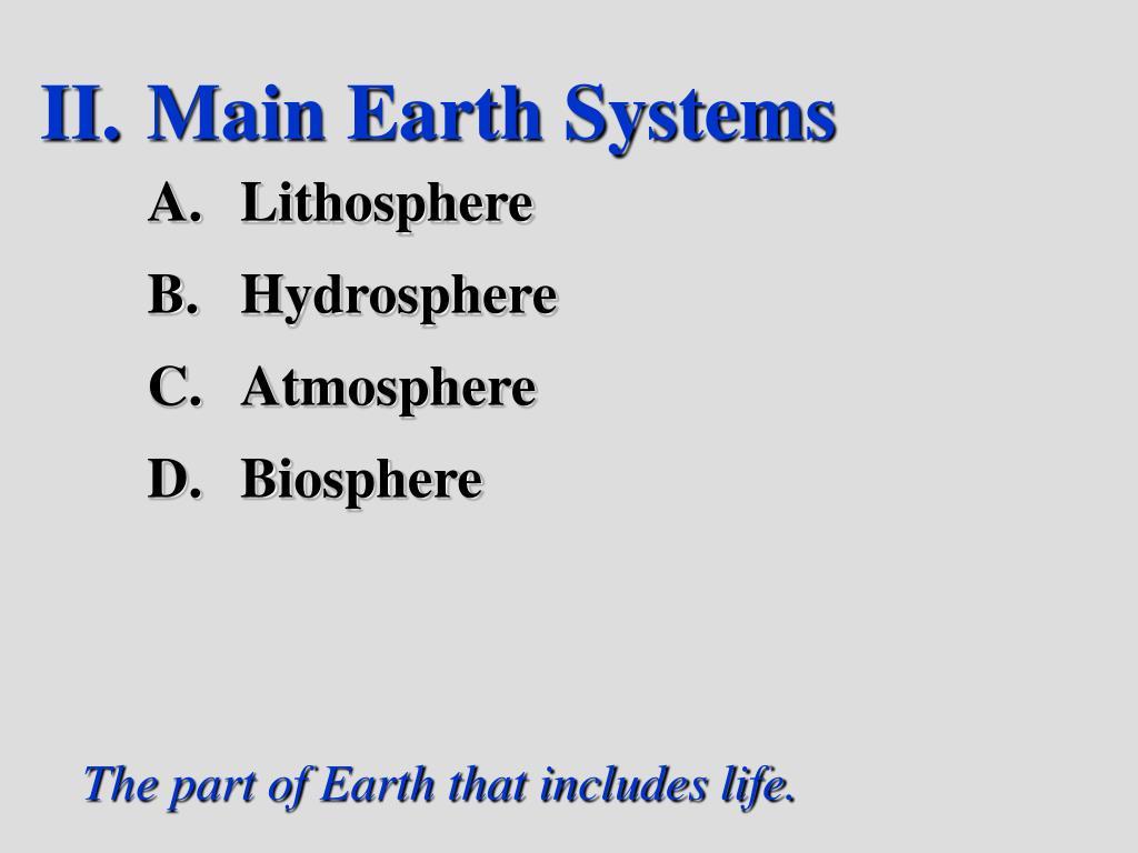Main Earth Systems