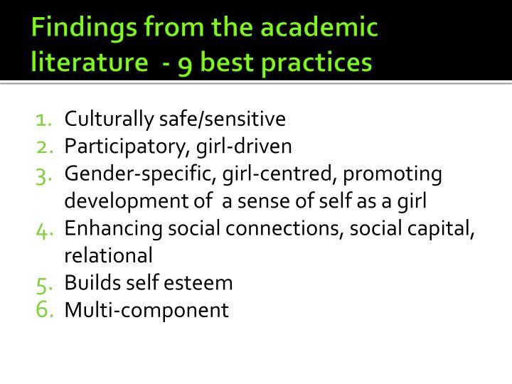 Findings from the academic literature  - 9 best practices