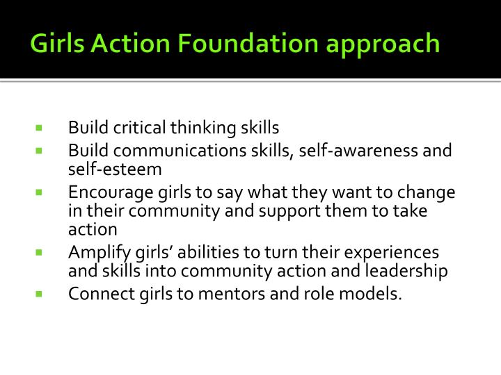 Girls Action Foundation approach