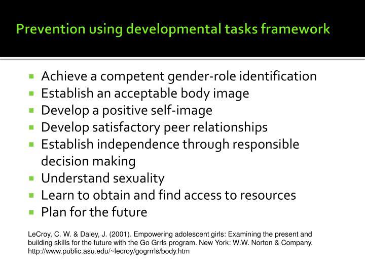 Prevention using developmental tasks framework