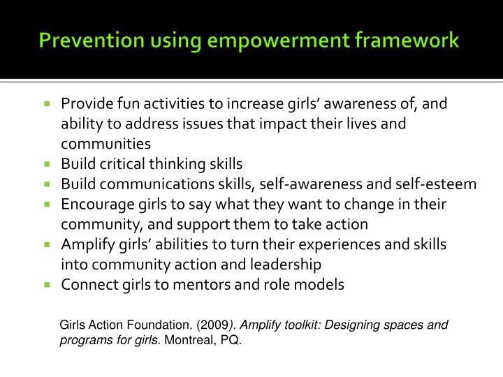 Prevention using empowerment framework