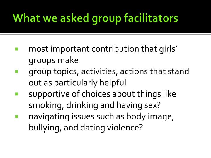 What we asked group facilitators