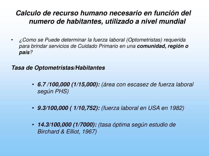 Calculo de recurso humano necesario en función del numero de habitantes, utilizado a nivel mundial