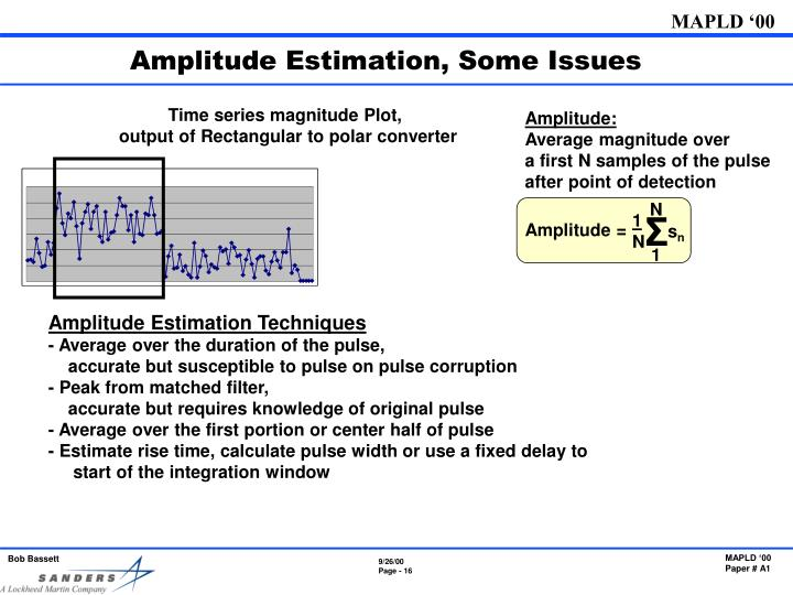 Amplitude Estimation, Some Issues
