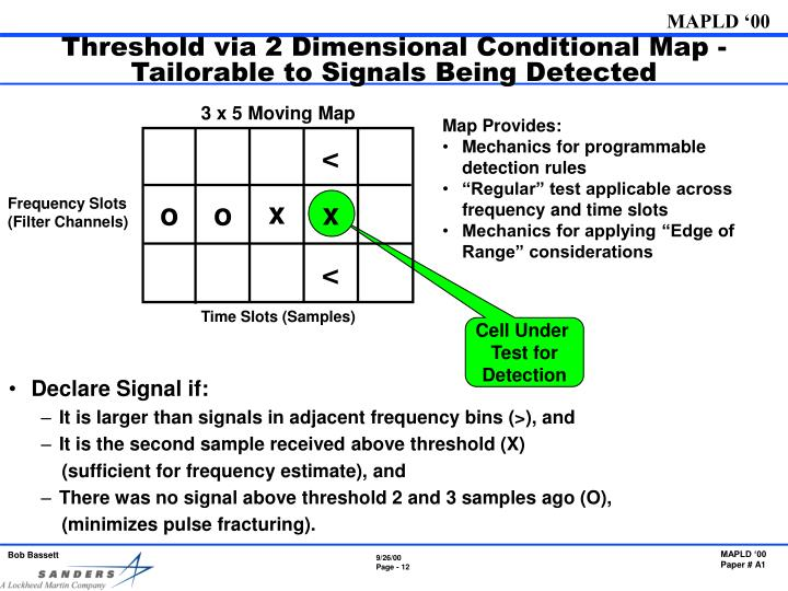 Threshold via 2 Dimensional Conditional Map - Tailorable to Signals Being Detected