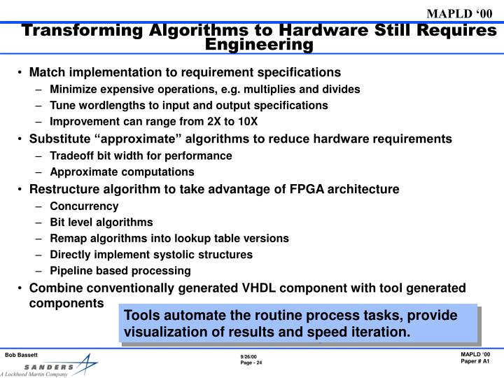 Transforming Algorithms to Hardware Still Requires Engineering