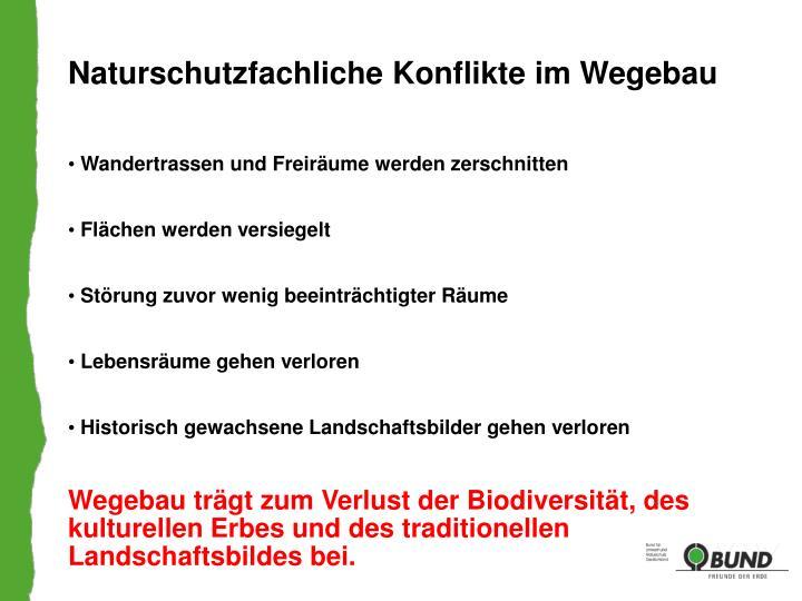 Naturschutzfachliche Konflikte im Wegebau