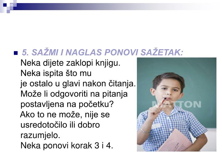5. SAŽMI I NAGLAS PONOVI SAŽETAK: